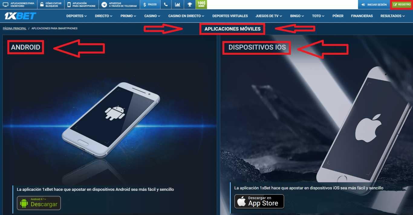 1xBet mobile app para Android e iOS.