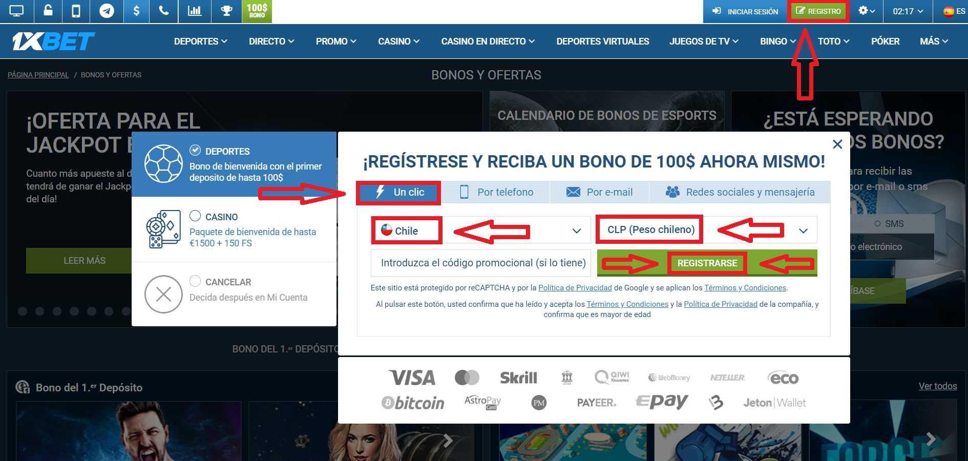1xBet registro de Chile: proceso paso a paso.